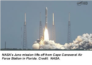 NASA's Juno mission lifts off from Cape Canaveral Air Force Station in Florida. Credit:  NASA.