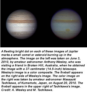 A fleeting bright dot on each of these images of Jupiter marks a small comet or asteroid burning up in the atmosphere. The image on the left was taken on June 3, 2010, by amateur astronomer Anthony Wesley, who was visiting a friend in Broken Hill, Australia, when he obtained the image with a 37-centimeter (14.5-inch) telescope. Wesley's image is a color composite. The fireball appears on the right side of Wesley's image. The color image on the right was taken by amateur astronomer Masayuki Tachikawa, of Kumamoto, Japan, on August 20, 2010. The fireball appears in the upper right of Tachikawa's image. Credit: A. Wesley and M. Tachikawa.