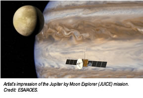 Artist's impression of the Jupiter Icy Moon Explorer (JUICE) mission. Credit:  ESA/AOES.