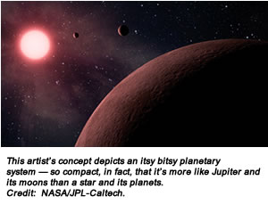 This artist's concept depicts an itsy bitsy planetary system — so compact, in fact, that it's more like Jupiter and its moons than a star and its planets. Credit:  NASA/JPL-Caltech.