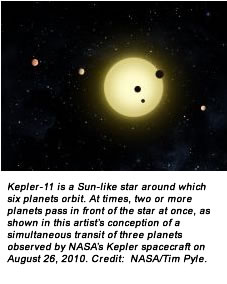 Kepler-11 is a Sun-like star around which six planets orbit. At times, two or more planets pass in front of the star at once, as shown in this artist's conception of a simultaneous transit of three planets observed by NASA's Kepler spacecraft on August 26, 2010. Credit:  NASA/Tim Pyle.