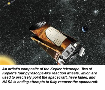 An artist's composite of the Kepler telescope. Two of Kepler's four gyroscope-like reaction wheels, which are used to precisely point the spacecraft, have failed, and NASA is ending attempts to fully recover the spacecraft.
