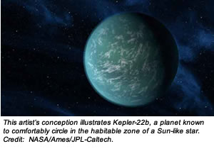 This artist's conception illustrates Kepler-22b, a planet known to comfortably circle in the habitable zone of a Sun-like star. Credit:  NASA/Ames/JPL-Caltech.