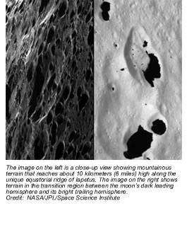 The image on the left is a close-up view shows mountainous terrain that reaches about 10 kilometers (6 miles) high along the unique equatorial ridge of Iapetus. The image on the right shows terrain in the transition region between the moon's dark leading hemisphere and its bright trailing hemisphere. Credit:  NASA/JPL/Space Science Institute