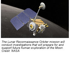 Artist's rendition of the LRO spacecraft in orbit around the Moon.