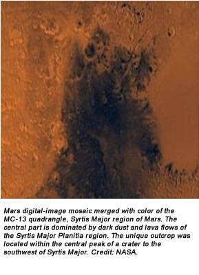 Mars digital-image mosaic merged with color of the MC-13 quadrangle, Syrtis Major region of Mars. The central part is dominated by dark dust and lava flows of the Syrtis Major Planitia region. The unique outcrop was located within the central peak of a crater to the southwest of Syrtis Major. Credit: NASA.