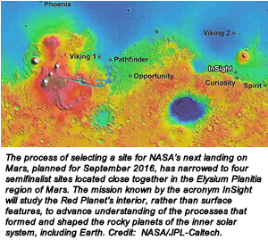 The process of selecting a site for NASA's next landing on Mars, planned for September 2016, has narrowed to four semifinalist sites located close together in the Elysium Planitia region of Mars. The mission known by the acronym InSight will study the Red Planet's interior, rather than surface features, to advance understanding of the processes that formed and shaped the rocky planets of the inner solar system, including Earth. Credit:  NASA/JPL-Caltech.