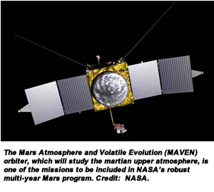 The Mars Atmosphere and Volatile Evolution (MAVEN) orbiter, which will study the martian upper atmosphere, is one of the missions to be included in NASA's robust multi-year Mars program. Credit:  NASA.