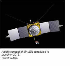 This image shows the artist's concept of MAVEN, scheduled to launch in 2013. Credit: NASA.