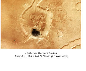 Crater in Mamers Valles.
