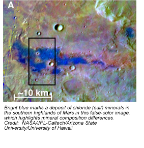 Bright blue marks a deposit of chloride (salt) minerals in the southern highlands of Mars in this false-color image, which highlights mineral composition differences.