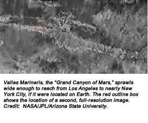 "Valles Marineris, the ""Grand Canyon of Mars,"" sprawls wide enough to reach from Los Angeles to nearly New York City, if it were located on Earth. The red outline box shows the location of a second, full-resolution image. Credit:  NASA/JPL/Arizona State University."