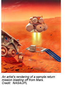 An artist's rendering of a sample return mission blasting off from Mars.