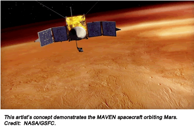 This artist's concept demonstrates the MAVEN spacecraft orbiting Mars. Credit:  NASA/GSFC.