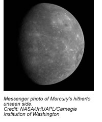 Messenger photo of Mercury's hitherto unseen side.