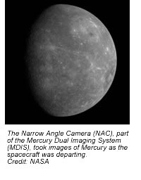 The Narrow Angle Camera (NAC), part of the Mercury Dual Imaging System (MDIS), took images of Mercury as the spacecraft was departing.