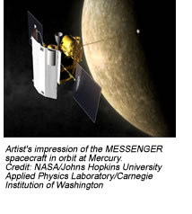 Artist's impression of the MESSENGER spacecraft in orbit at Mercury.