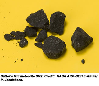 Sutter's Mill meteorite SM2. Credit:  NASA ARC-SETI Institute/P. Jenniskens.