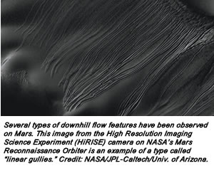 "Several types of downhill flow features have been observed on Mars. This image from the High Resolution Imaging Science Experiment (HiRISE) camera on NASA's Mars Reconnaissance Orbiter is an example of a type called ""linear gullies."" Credit: NASA/JPL-Caltech/Univ. of Arizona."