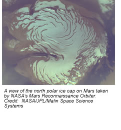 A view of the north polar ice cap on Mars taken by NASA's Mars Reconnaissance Orbiter.