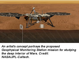 An artist's concept portrays the proposed Geophysical Monitoring Station mission for studying the deep interior of Mars. Credit:  NASA/JPL-Caltech.