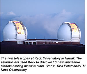 The twin telescopes at Keck Observatory in Hawaii. The astronomers used Keck to discover 18 new Jupiter-like planets orbiting massive stars. Credit:  Rick Peterson/W. M. Keck Observatory.