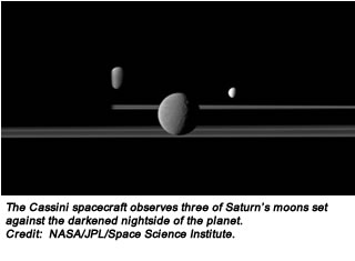 The Cassini spacecraft observes three of Saturn's moons set against the darkened nightside of the planet. Credit:  NASA/JPL/Space Science Institute.