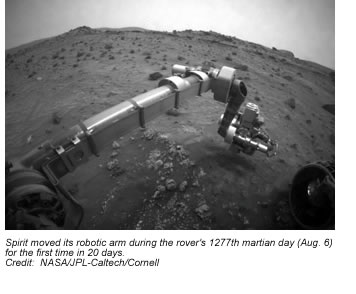 This view from the front hazard-avoidance camera on Spirit shows the position of its front wheels following a backward drive during the 2154th martian day (sol) of the rover's mission on Mars (January 23, 2010). The view is toward the north. Credit:  NASA/JPL-Caltech.