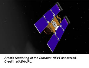 Artist's rendering of the Stardust-NExT spacecraft. Credit:  NASA/JPL.