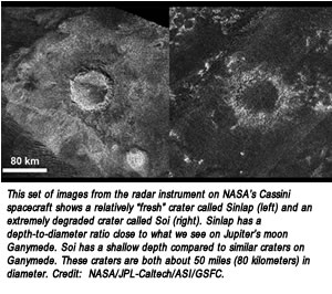 "This set of images from the radar instrument on NASA's Cassini spacecraft shows a relatively ""fresh"" crater called Sinlap (left) and an extremely degraded crater called Soi (right). Sinlap has a depth-to-diameter ratio close to what we see on Jupiter's moon Ganymede. Soi has a shallow depth compared to similar craters on Ganymede. These craters are both about 50 miles (80 kilometers) in diameter. Credit:  NASA/JPL-Caltech/ASI/GSFC."