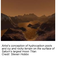 Artist's conception of hydrocarbon pools and icy and rocky terrain on the surface of Saturn's largest moon Titan.