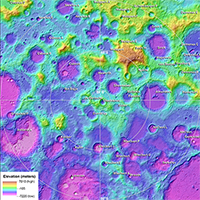 Topographic Map of the Moon's South Pole