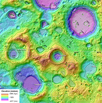 Topography and Permanently Shaded Regions (PSRs) 87°S to Pole of the Moon