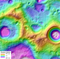 Topographic Map of the Moon's South Polar Ridge