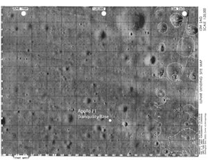 Location of the Apollo 11 LM (Eagle) on chart LSM 2AG