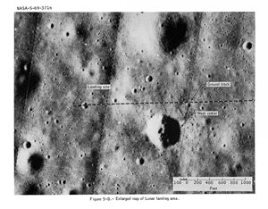 Enlarged map of lunar landing area