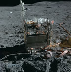 The Apollo 16 ALSEP Central Station, showing the severed cable to the Heat Flow Experiment.