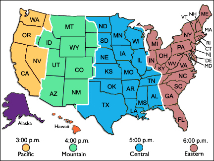 Time Zone Boundaries Reference Map Of California USA Nations Time
