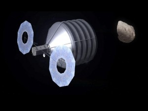 Asteroid Capture in Progress-- This asteroid mission brings together the best of NASA's science, technology and human exploration efforts to achieve the President's goals faster and at a lower cost to taxpayers than continuing with business as usual. This image shows what capturing an asteroid could look like. NASA will enhance its detection and characterization capabilities, accelerate solar electric propulsion technology development and begin the design of the overall mission.  Image Credit: NASA/Advanced Concepts Lab