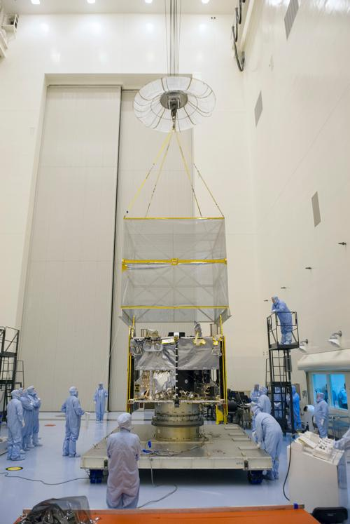 NASA's Mars Atmosphere and Volatiles Evolution (MAVEN) spacecraft is seen inside the Payload Hazardous Servicing Facility on Aug. 3. 2013 at the agency's Kennedy Space Center in Florida. Image credit: NASA.