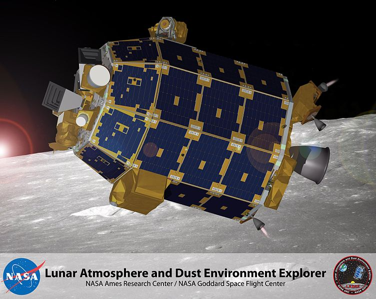 Artist's depiction of the LADEE spacecraft in orbit at the Moon. Image credit: NASA.