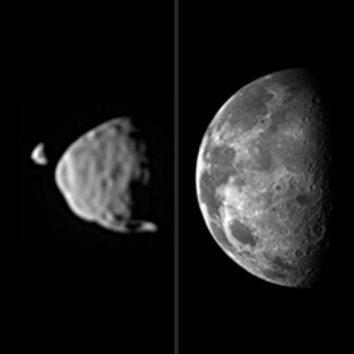 This illustration provides a comparison for how big the moons of Mars appear to be, as seen from the surface of Mars, in relation to the size that Earth's moon appears to be when seen from the surface of Earth. Image credit: NASA.