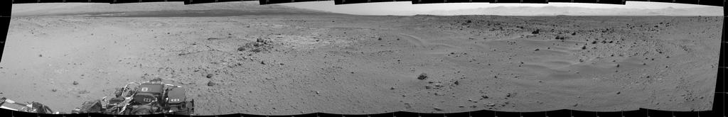 This mosaic of images from the Navigation Camera (Navcam) on NASA's Mars rover Curiosity shows the scene from the rover's position on the 376th Martian day, or sol, of the mission (Aug. 27, 2013).