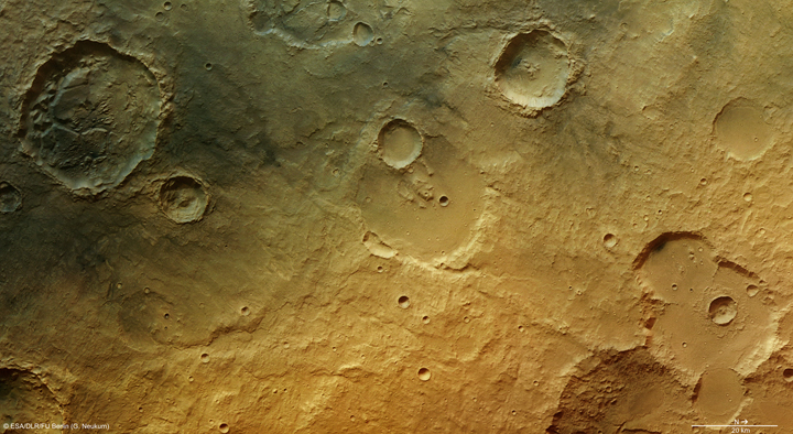 Evidence of a watery past near Tagus Valles, Mars. Image credit: ESA/DLR/FU.