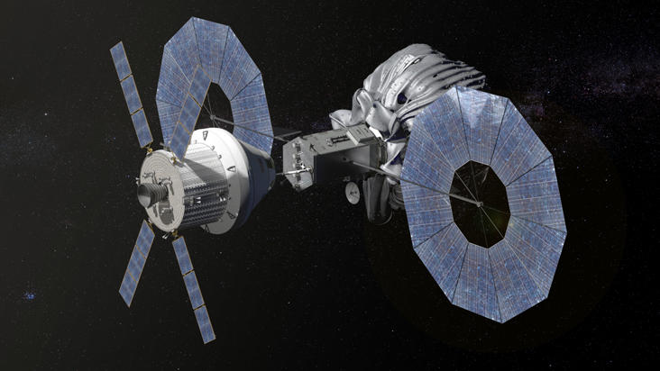 This conceptual image shows NASA's Orion spacecraft approaching the robotic asteroid capture vehicle. The trip from Earth to the captured asteroid will take Orion and its two-person crew an estimated nine days. Image Credit: NASA