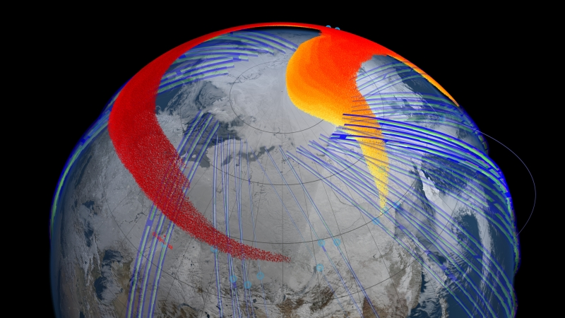 Model and satellite data show that four days after the bolide explosion, the faster, higher portion of the plume (red) had snaked its way entirely around the northern hemisphere and back to Chelyabinsk, Russia. Image credit: NASA's Goddard Space Flight Center Scientific Visualization.