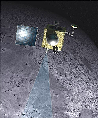 Chandrayaan-1 is an Indian Space Research Organization (ISRO) mission designed to orbit the moon over a two year period with the objectives of upgrading and testing India's technological capabilities in space and returning scientific information on the lunar surface. Image credit: Indian Space Research Organization.