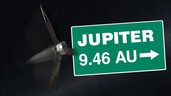 A computer-generated image depicts NASA's Juno spacecraft on its way to Jupiter. Image credit: NASA/JPL-Caltech.