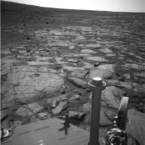 "NASA's Mars Exploration Rover Opportunity used its navigation camera (Navcam) to record this image of the northern end of ""Solander Point,"" a raised section of the western rim of Endeavour Crater."
