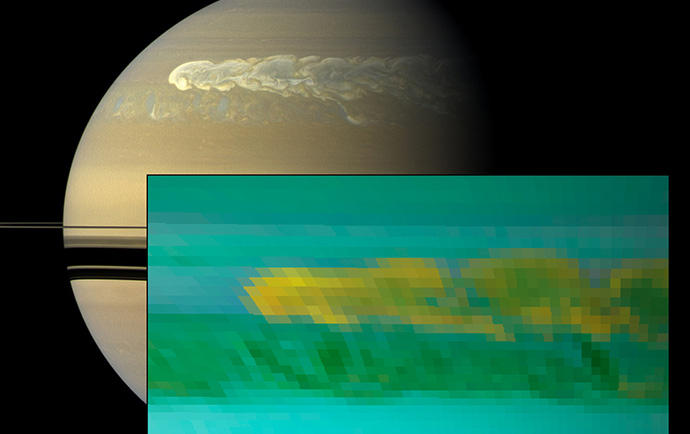 This set of images from NASA's Cassini mission shows the turbulent power of a monster Saturn storm. The visible-light image in the back, obtained on Feb. 25, 2011, by Cassini's imaging camera, shows the turbulent clouds churning across the face of Saturn. The inset infrared image, obtained a day earlier, by Cassini's visual and infrared mapping spectrometer, shows the dredging up of water and ammonia ices from deep in Saturn's atmosphere. This was the first time water ice was detected in Saturn's atmosphere. The storm, first detected by Cassini's radio and plasma wave subsystem in December 2011, churned around the planet in a band around 33 degrees north. Image credit: NASA/JPL-Caltech/SSI/University of Arizona/University of Wisconsin.